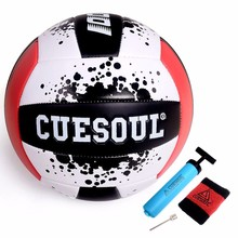 CUESOUL Size 5 Soft PU Volleyball Sand Beach Volleyball Game Ball Soft Touch Volleyball Ball Send With Air Bump Needle Inflator(China)