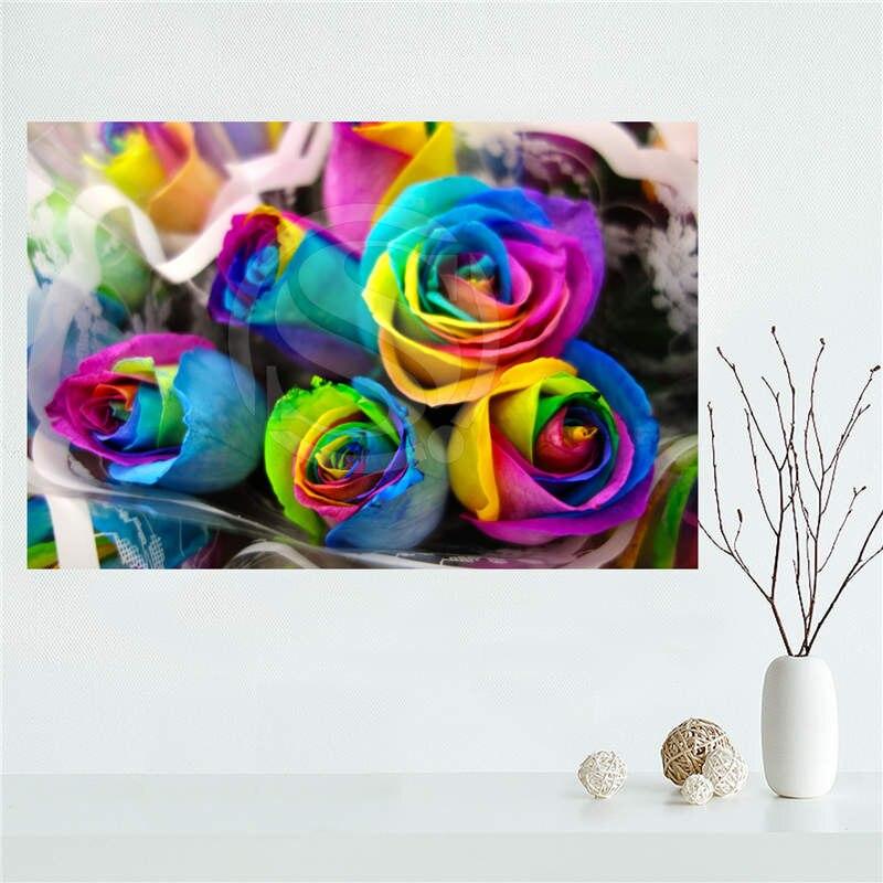 yjw523l26 custom rainbow rose flower canvas painting wall silk poster cloth print diy fabric