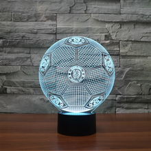 USB Novelty 3D Lights chelsea Football Club LED Touch Lamp Soccer fc Night Lights 3D Visual lights Desk Luminaria football Lamp(China)