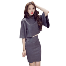 2018 New Spring Summer Fashion Sexy Chic Suit Skirt Korean 3/4 Sleeve Tops+High Waist Mini Pencil Skirt 2 Two Piece Sets Women(China)