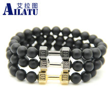 Ailatu 10 Pieces Wholesale Alloy Metal Barbell & Matte Stone Beads Fitness Fashion Dumbbell Bracelet, GYM Dumbell Charm Men Gift