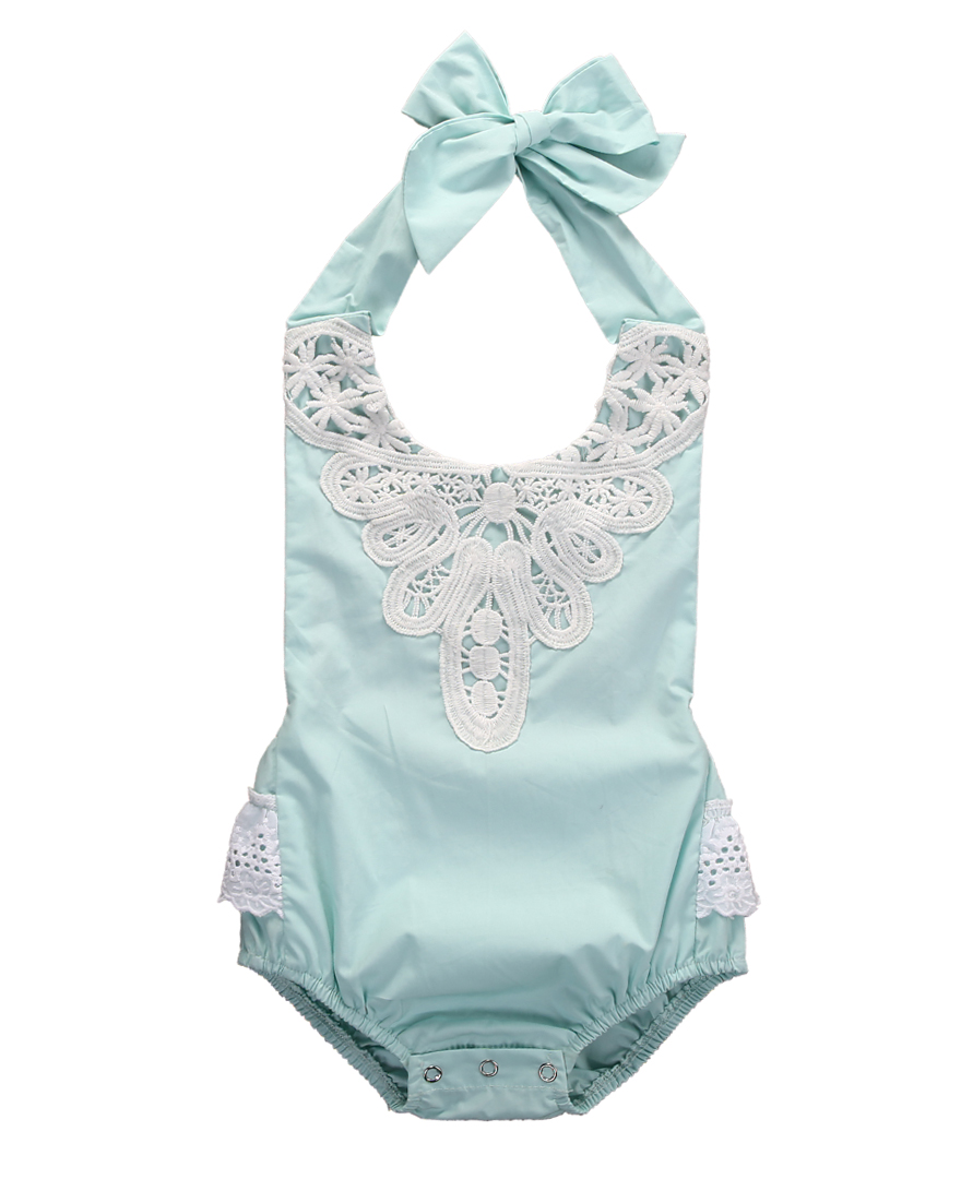 Lace Romper Jumpsuit Outfits Spaghetti-Straps Backless HALTER Baby-Girl One-Pieces Kids title=