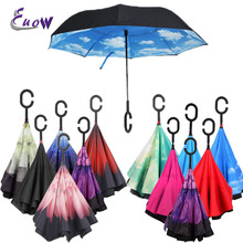 27 Colors C-Hook Windproof Reverse Fold umbrella For Car Long Shank Inverted Double Layer Women's Rain Umbrella Drop Shipping