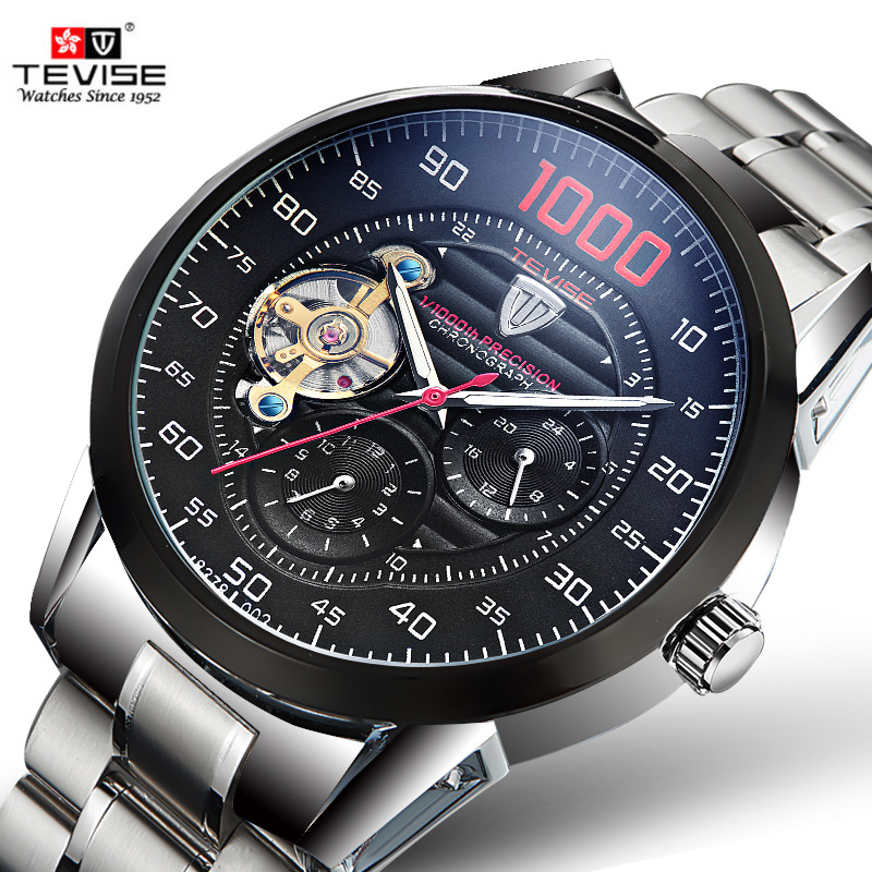 Men Full Steel Automatic Mechanical Watches Top Brand TEVISE Chronograph Tourbillon Clock Men Wristwatch Military Watches Men<br>