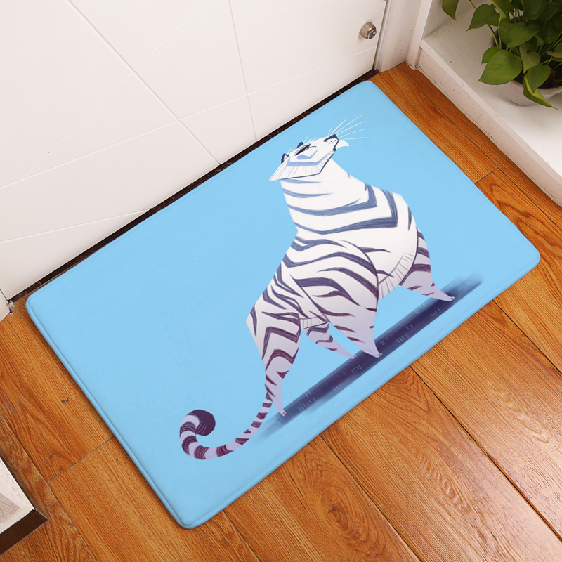 Cartoon Flannel Carpet Cats Printing Mat For Living Room 40x60cm ...