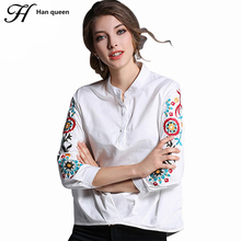H Han Queen Blouses New Embroidery Shirt Women 3/4 Sleeve Casual Work Europe Style White Cotton Blouse Vintage Irregular Tops