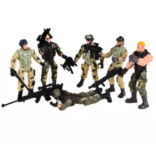 6 pcs American Privates Modern Toy Soldiers Models With Joint Movable With Weapons(China)
