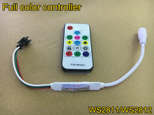 Mini RF wireless full-color controller 5V 12V WS2811/WS2812 led strip RGB controller(China)