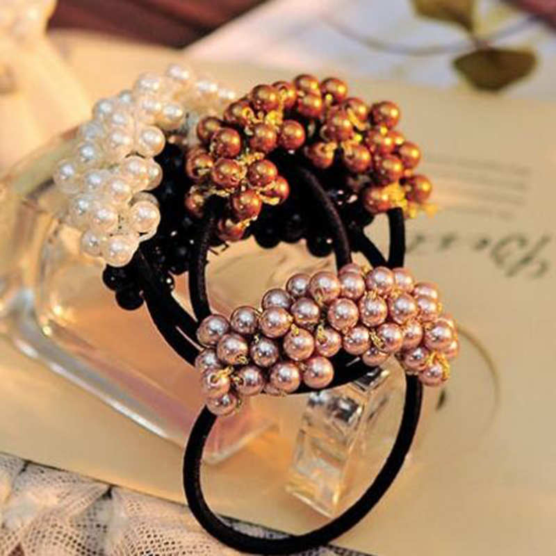 Style Hair Ties Semi-circle Pearls Beads Hair Rope Girls Hair Accessories Scrunchie Ponytail Elastic Hair Band(China)