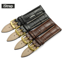 iStrap Black Brown Watch Strap Italian Calf Leather Watchband with Gold Pin buckle Replacement Watch Band for Omega Tissot