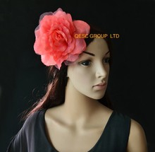 NEW 12 colors pink 15cm silk flower hair accessory for fascinator sinamay hat.with brooch pin hair clip.