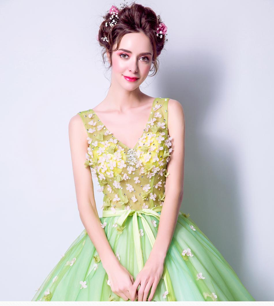 Angel Wedding Dress Marriage Bride Bridal Gown Vestido De Noiva 2017Soft powder, Qingjian Lvxian beauty, petals, green 9718 1