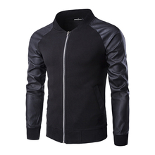 leather jacket men Men's Casual ball Jackets Top Quality Patchwork Design men Fashion Coat mens leather jackets and coats
