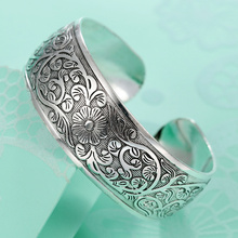 ethnic silver plated flower bangles 2017 retro girls cuff bracelet lady's hand  boho jewelry retail wholesale good quality hot