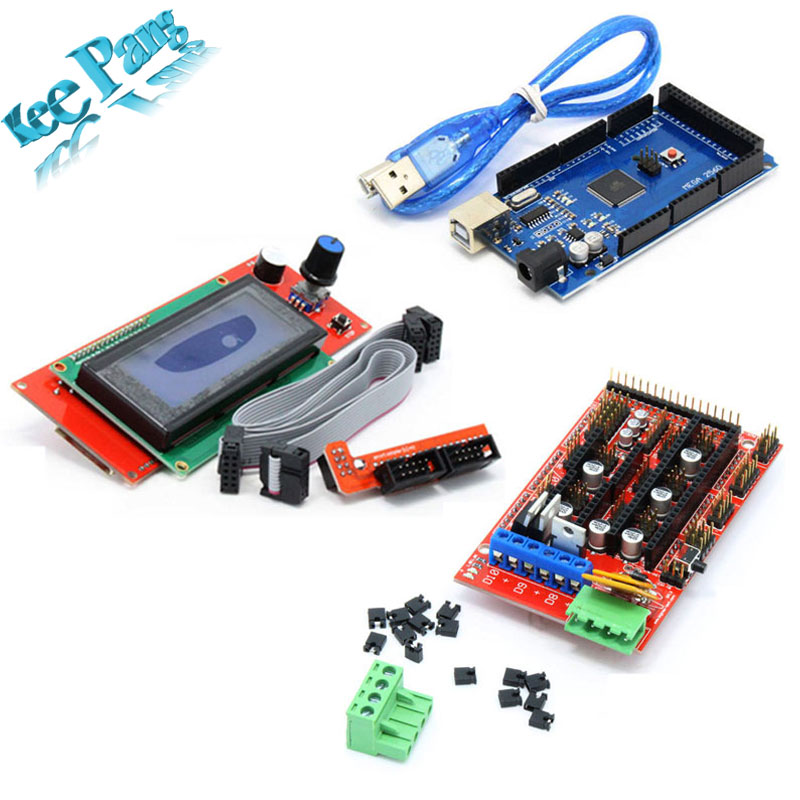 Mega 2560 R3 Mega2560 REV3 + 1pcs RAMPS 1.4 Controller + RAMPS1.4 LCD 2004 LCD for 3D Printer Reprap MendelPrusa<br><br>Aliexpress