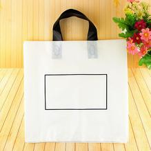50pcs Large White Gift Plastic shopping bags 39x7x36cm High-end Boutique Clothes with Handles Reusable Packaging Bag Retail(China)