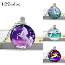 Buy 2016 Unicorn Necklace Unicorn Pendant Unicorn Jewelry Art Glass Cabochon Necklace Horse Neckalce Round Pendant HZ1 for $1.25 in AliExpress store