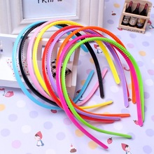 20 Pcs/Lot 0.8cm Headbands Plastic Hairbands Ladies/Girls/Kids Simple Style Hair Hoops Teeth Candy Color Wholesales(China)