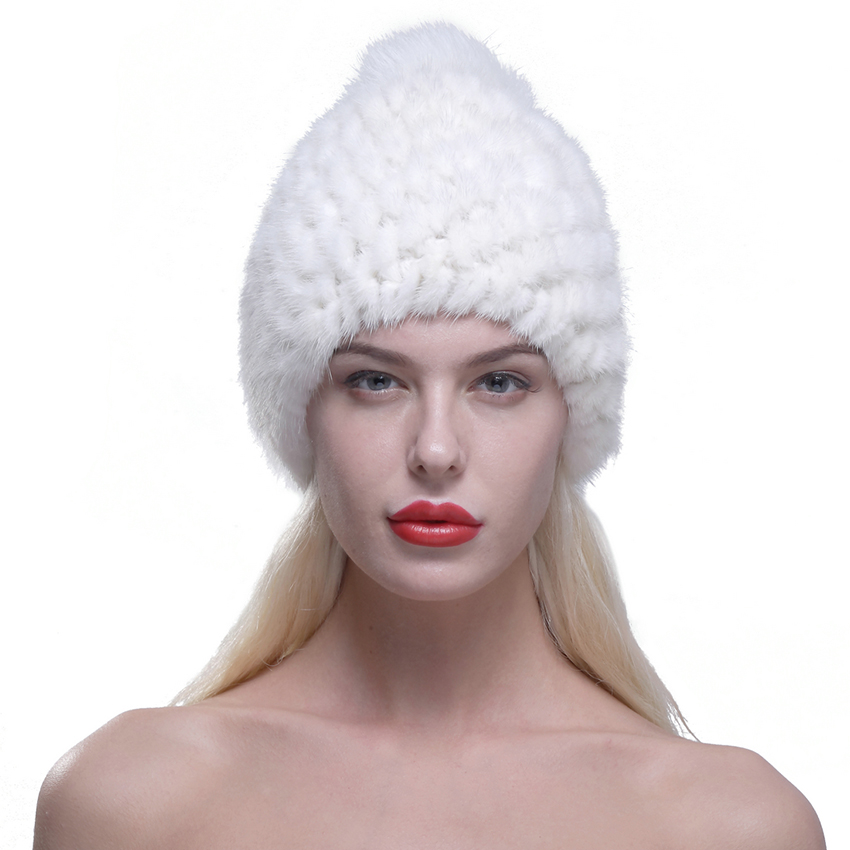 URSFUR Women Winter Hat Knit Mink Fur Beanie Cap with Fox Pom Pom Pineapple Hat White Hot sale 2017 winter warm with lingingОдежда и ак�е��уары<br><br><br>Aliexpress