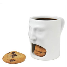 Practical Funny face ceramic mug, caneca magic for Coffee Tea Drinkware dessert placed rack spoof trick gadgets gift(China)