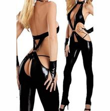 Buy Hot women sexy latex catsuit bodysuit plus size crotchless sexy lingerie XXL open hip stripper clothes pole dancing lingerie