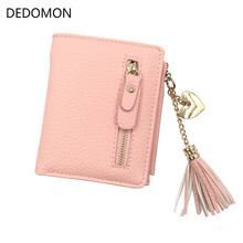 small tassel women wallet 2017 luxury brand short design leather double zipp two fold female purse with heart chain card holder(China)
