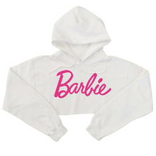 woman's sweatshirt harajuku  Barbie pink letters hoodies sexy crop top long-sleeve punk hip-hop hoodies hip-hop sweatshirt
