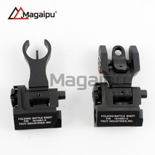 Magaipu Whosale Tactical Metal Iron Troy Front And Rear Folding Battle Sight Set Airsoft Hunting Accessories(China)