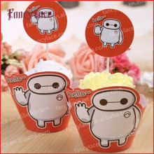24pcs Baymax Big Hero cupcake wrapper &toppers picks decoration baby birthday party supplies (12 wrap+12 topper) Free Shipping