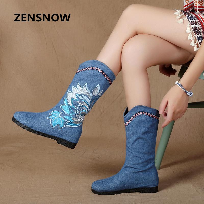 The Flavor Of The 2017 New Chinese Wind Cloth Boots Increased In Boots Folk Style Boots Cotton Embroidered Boots<br>