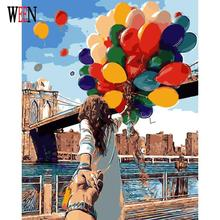 Romantic Oil Painting By Numbers On Canvas DIY Couple with balloons Handpainted Painting Coloring By numbers Home Decor No Frame