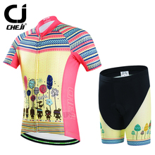 CHEJI Children Clothes Cycling Jersey BIke Kid Padded Shorts Set(China)
