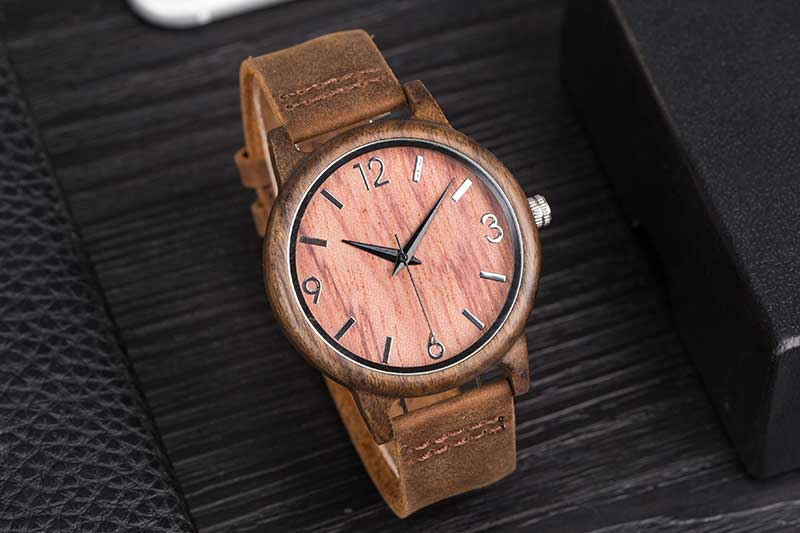 17Men's Clock Black Vintage Saat Wooden Watches With Real Leather Band Design Man Top Brand Quartz Watches Round With Gift Box 16