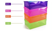 Storage Boxes  Best price CLEAR plasic FOLDABLE storage box for SHOES (Color:White,Blue,Yellow,Pink,Purple,Green,Orange) 30pcs