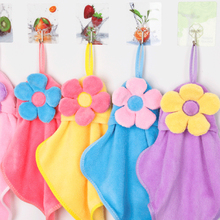 New Cute Sunflower Coral Velvet Absorbent Hand Towels Kids Towel Hanging Kitchen Towel
