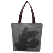 New Vintage Large Casual Tote Designer Beach Bags Canvas Bucket Handbag National Style Leaves Painting Shoulder bag Shopping Bag