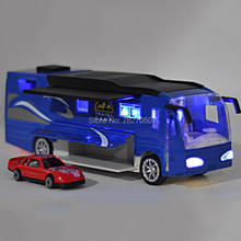 Double Decker Touring toy cars 1:50 Luxurious Family Travel Bus toys Model Car with sports car festival gift toys for kids(China)