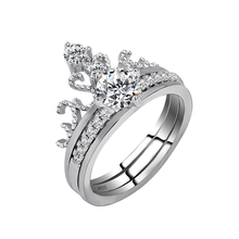 Grace Moments Tiara Double Ring Girls Fashion Crystal Rings Women Wedding Ring Suit Best Engagement Finger Ring with S925 Marked