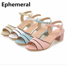 Ladies Hot Sell Italian High Heels Shoes Back Strap Spongy Insole Peep Toe Square Thick heel Plus size 34-43 Women Pumps Fashio