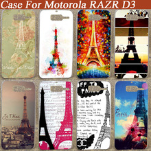 New Arrival Fashion printing Cover Case For Moto Razr d3 Eiffel tower Diy Hard Plastic Back Cases(China)
