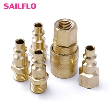 "5Pcs Brass Quick Coupler Set Solid Air Hose Connector Fittings 1/4"" NPT Tools #G205M# Best Quality"