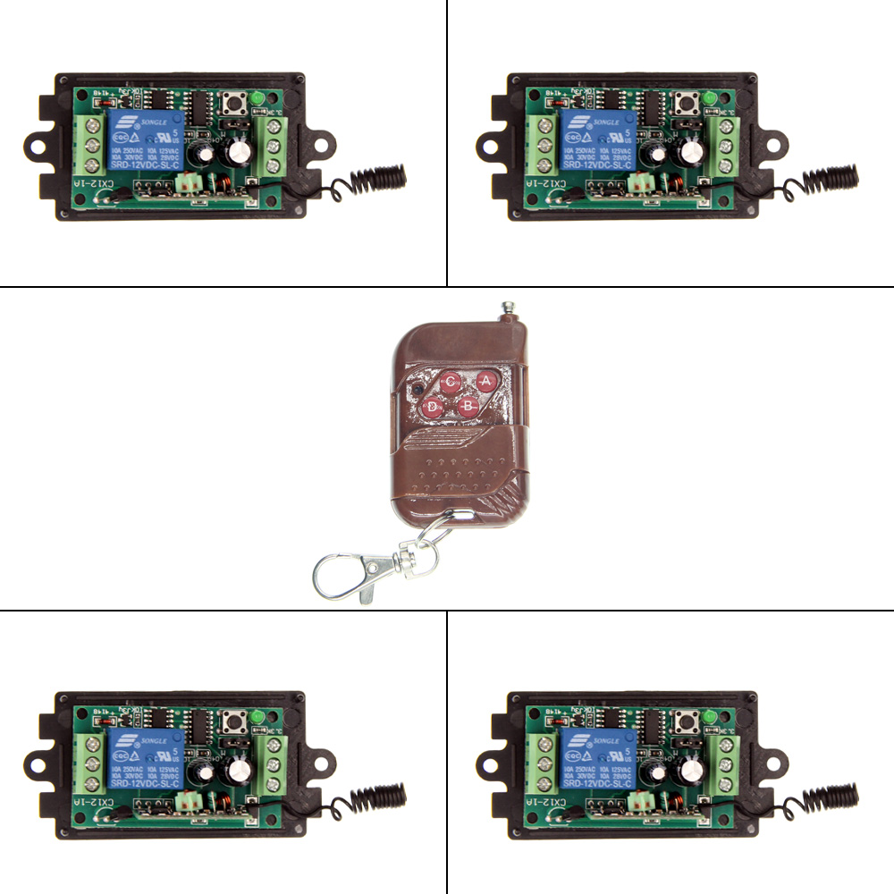 DC 9V 12V 24V 1 CH 1CH RF Wireless Remote Control Switch System,315/433.92 MHZ ,4CH Transmitter + 4 X Receivers,Momentary/Toggle<br><br>Aliexpress