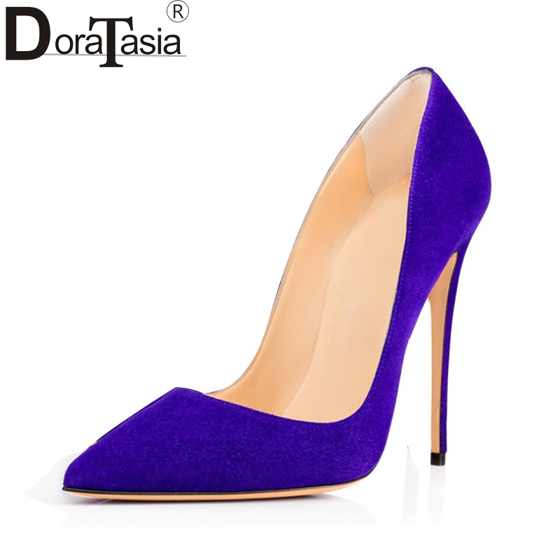 DoraTasia large size 34-48 pointed toe 20 colors women shoes woman sexy thin high heels party wedding pumps lady<br>