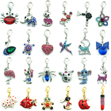 JINGLANG Mix Sale Fashion Lobster Clasp Charms Dangle Twenty-four Rhinestone Pattern Charms DIY For Jewelry Making Accessories(China)