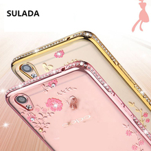 Luxury Flower Gold Plating Diamond Case For OPPO F1 F1s R7 R9 Plus R7S A33 A53 A59 A31 A37 A35 Phone case Soft TPU Back Cover(China)