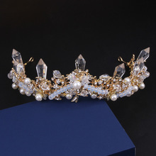 The bride luxury Crystal Crown Princess Wedding large baroque pearl golden hair accessories