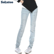 Sokotoo Women's all match light blue denim jeans Spliced bleach washed vintage pants Trousers cheap price high quality(China)