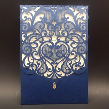 12Pcs Blue Star Wedding Invitations Card Laser Cut Love Heart Invitation Cards Birthday/Baby Shower/Business/ Chraitsmas Party