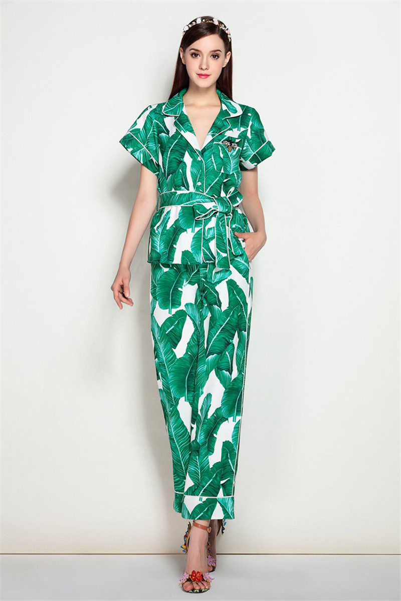 Brand Fashion Two Piece Set Women Runway Suit Fashion Green Leaf Print Dragonfly Beading Shirt + Elastic Waist Pants Sets 5