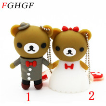 FGHGF cartoon 4gb 8gb 16gb plate wedding dress bear pen driver cartoon usb2.0 usb flash drive mini gift pendrive 8 gb gifts(China)